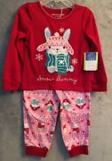 Nwt Peas And Carrots Toddler Girl's Pj's Size 2t Flame Resistant Snow Bunny