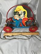 Vintage Gong Bell Mfg Dog Clown Pull Toy Original Collector. Rare