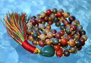 Red Picasso Jasper Knotted Mala Beads - Necklace Renew Lost Friendship Stabilit