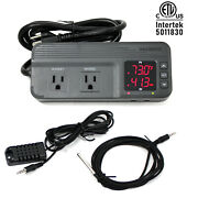 Temperature And Humidity Controller Dual Stage Outlet Thermostat 1800w Greenhouse