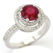 2.00ctw Round Cut Red Ruby And Diamonds Engagement Ring Double Halo Ru2600