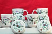 English Floral Print, Set Of 4 Coffee Cups, Mugs With Coaster / Lids