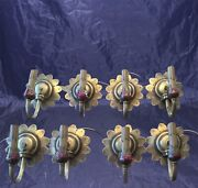8 Matching 1920and039s Antique Brass Sconces Lot 4 Pairs Wired Wall Sconce 6c