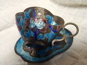 Antique Chinese Export Copper Enameled Cup And Saucer Peony Design