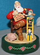 Coca-cola Coke Vintage Ertl Figurine Bank - Santa In A Chair With Elf And Toys