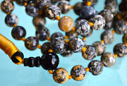 Rare Knotted Blue Ocean Jasper Mala 108 Beads Necklace Mantra Meditation Yellow