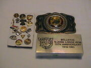 Lot /17 Moose Lodge And Elks Fraternal Club Belt Buckle Paperweight And Lapel Pins