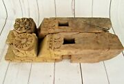 2 Piece Old Vintage Wood Hand Carved Pair Window Wall Panel Brackets P2