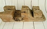 2 Piece Pair Old Vintage Wood Hand Carved Pair Window Wall Panel Brackets P3