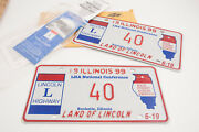 Pair 1999 Lha National Lincoln Highway Temporary License Plates Illinois A5r