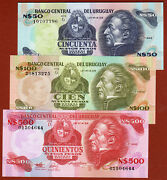 Central Bank Of Uruguay Lot Of 3 Bank Notes 50 100 500 Very Nice Unc