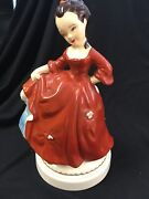 Vintage Figurine Beautiful Lady With Rec Dress With Tiny Flowers