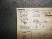 1964 Chevrolet Transistor Ignition Hd Charging 409 Sun Tune Up Chart Sheet Great
