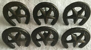 Set Of 6 Rustic Western Star Horseshoe Cast Iron Drawer Pulls With Screws