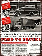 1935 Ford V-8 Delivery Van And Truck Garage Shop Man Cave Metal Sign 9x12 A108