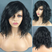 Us Black Fashion Wavy Curly Short Hair Full Wigs Cosplay Party Synthetic Hair