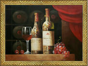 Wine Bottles Grapes Still Life Framed Oil Painting 18x24 Canvas Sale