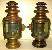 Pair Gray And Davis 10 Cylindrical Brass Side Lamps Studebaker Garford Alco