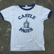 Vtg 70s 80s Paper Thin Distressed High School College Newspaper Castle T Shirt