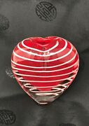 Hand Blown Red Glass Heart Shaped Bud Vase 4 Infused White Swirls