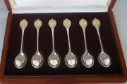 Superb Case Set Six Solid Sterling Silver 24ct Gold The Sovereign Queens Spoons