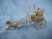 Vintage Silver Miniature Man Driving Carriage With Horse