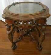 Antique Carved Wood Tray Top Table With Caryatid Legs And Facials Top