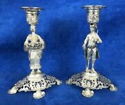 Pair Of Stunning Antique 800 Silver Germany Candle Holder Man And Woman