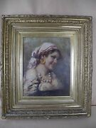 Antique Oil Framed Painting Gypsy Woman Portrait Signed Muller