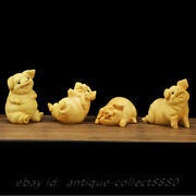 4pcs 3.1 Chinese Box-wood Hand Carved Zodiac Animal Four Xi Pig Lucky Statue 喜猪