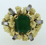 Gorgeous 18k Yellow Gold Natural Russian Emerald Baguette Diamond Cocktail Ring