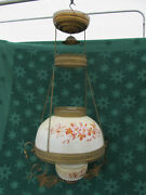 Antique Victorian Hanging Oil Lamp With Matching Painted Floral Font And Shade