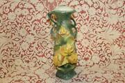 Majolica Tall Yellow Roses Double Handled Green Vase Incised 9338