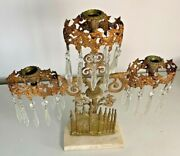 3 Arm Brass Candle Holder With Crystal Prisms
