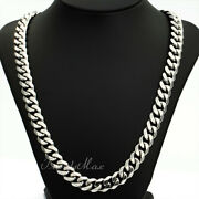 Menand039s Curb Cuban Chain Necklace Stainless Steel 11mm 18-36 Valentineand039s Gift