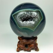 414g Polished Agate Sphere With Crystal Cluster Center W/wood Stand Brazil A093