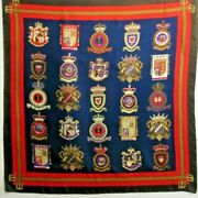 Military Medallions Design/collector 100 Silk Scarf Vintage Navy/red 31 Square