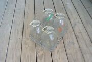 Vintage Gallon Glass Milk Bottles Set Of 4 With Carrying Crate Holds 6 Antique