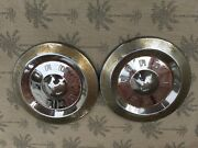 Two Hubcaps Ford 1960s Or 1970s Vintage No Paint On Front