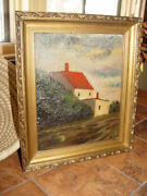 19th Century Framed German Oil Painting On Board Depicting Home With A Red Roof