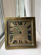 1920s Art Deco And Co.by Charles Hour Square Brass Easel Clock