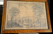 Antique Pen And Ink Drawing Mining Colliery Durham In Maple Frame C1873 Signed