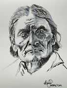 Portrait Of Geronimo.pen And Ink Drawing.native American.indian.realism.the West