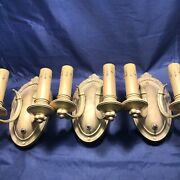 Set Of Three Two Candle Antique Raw Yellow Brass Sconces 79a