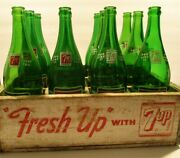 Rare 1950and039s-60and039s 7up Crate Of 12 1 Pint Bottles-great Condition-connecticut