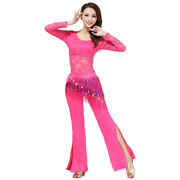 Women Belly Dance Practice Costumes Training Outfits Long Sleeves Lace 3pcs Set