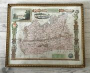 Framed Antique Hand Coloured Map If Surrey Cira 1840 By Thomas Moule