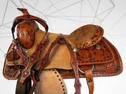 17 16 Roping Horse Pleasure Team Floral Tooled Leather Western Rodeo Saddle