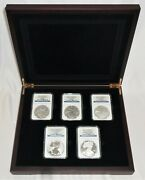 2011 25th Anniversary 5-coin Silver Eagle Set Graded Ngc Ms69 Pf69 Pf69 Uc