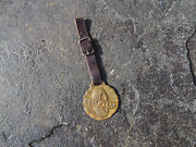 Vintage Goodyear Brass Molded Watch Fob With Original Leather Strap